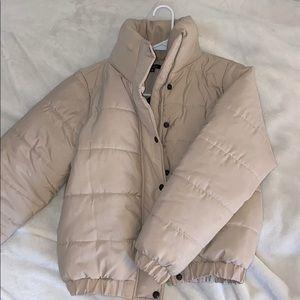 Boohoo beige mini puffer jacket